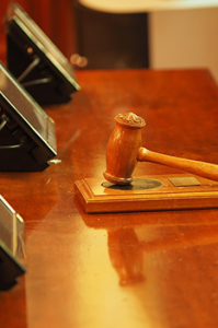 courtroom setting with focus on gavel