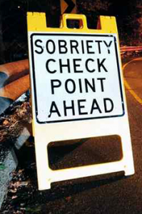 sobriety check notice on road